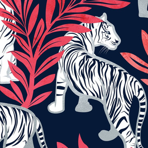 Large jumbo scale // Nouveau white tigers // navy blue background red leaves silver lines white animals