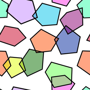 colorful pentagon glass shape