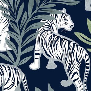 Large jumbo scale // Nouveau white tigers // navy blue background green leaves silver lines white animals