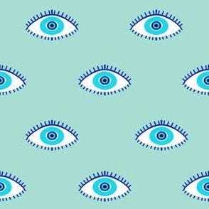 evil eye - blue eyes fabric, nazar, blue eyes, turkey fabric - mint