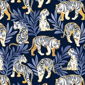 Small scale // Nouveau white tigers // navy blue background blue leaves golden lines white animals