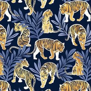 Small scale // Nouveau yellow tigers // navy blue background blue leaves white lines yellow gold animals