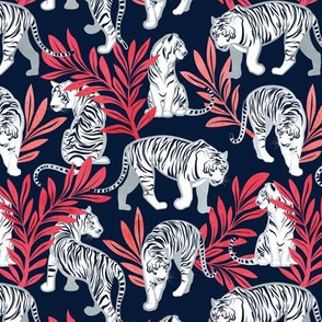 Small scale // Nouveau white tigers // navy blue background red leaves silver lines white animals