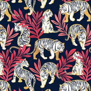 Small scale // Nouveau white tigers // navy blue background red leaves golden lines white animals