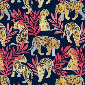 Small scale // Nouveau yellow tigers // navy blue background red leaves silver lines yellow gold animals