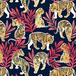 Small scale // Nouveau yellow tigers // navy blue background red leaves white lines yellow gold animals