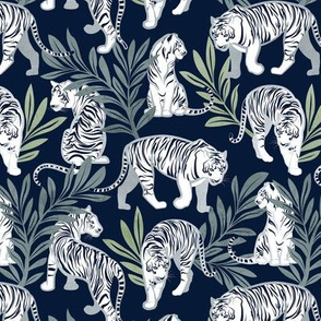 Small scale // Nouveau white tigers // navy blue background green leaves silver lines white animals