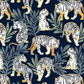 Small scale // Nouveau white tigers // navy blue background green leaves golden lines white animals