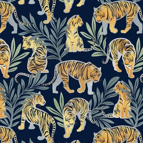 Small scale // Nouveau yellow tigers // navy blue background green leaves silver lines yellow gold animals