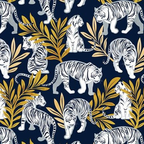 Small scale // Nouveau white tigers // navy blue background yellow leaves silver lines white animals