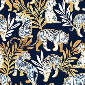 Normal scale // Nouveau white tigers // navy blue background metal gold leaves and lines white animals