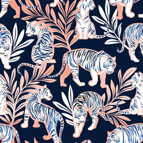 Normal scale // Nouveau white tigers // navy blue background metal rose leaves and lines white animals