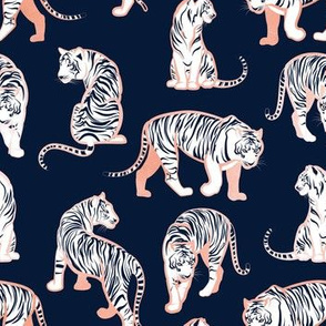 Small scale // Big tiger cats // navy blue background metal rose lines white animals