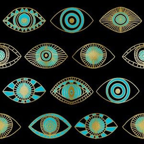eyes fabric - eye fabric, evil eye, boho hippie fabric - turquoise eyes fabric - black gold and blue