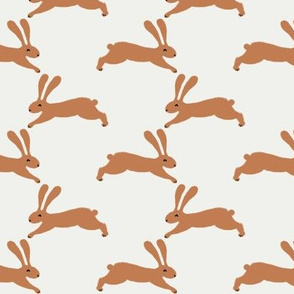easter rabbit fabric - easter fabric, rabbit fabric, nursery fabric, baby fabric - rust