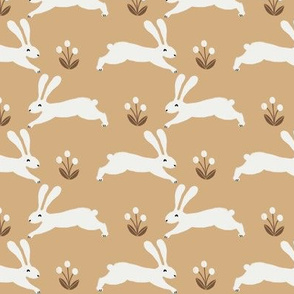 easter rabbit fabric - easter fabric, rabbit fabric, nursery fabric, baby fabric - golden yellow