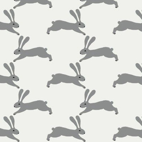 easter rabbit fabric - easter fabric, rabbit fabric, nursery fabric, baby fabric - grey