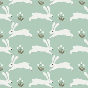 easter rabbit fabric - easter fabric, rabbit fabric, nursery fabric, baby fabric - mint