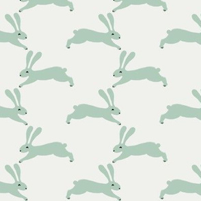 easter rabbit fabric - easter fabric, rabbit fabric, nursery fabric, baby fabric - mint
