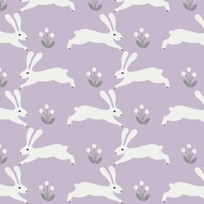 easter rabbit fabric - easter fabric, rabbit fabric, nursery fabric, baby fabric - lilac