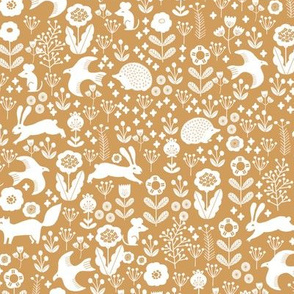 spring animals fabric - spring fabric, easter fabric, woodland animals fabric - golden yellow