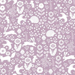 spring animals fabric - spring fabric, easter fabric, woodland animals fabric - mauve