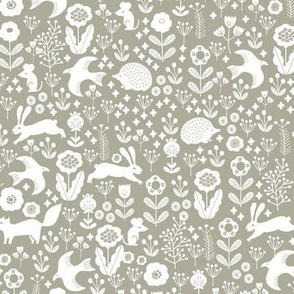 spring animals fabric - spring fabric, easter fabric, woodland animals fabric - sage