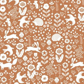 spring animals fabric - spring fabric, easter fabric, woodland animals fabric - ochre