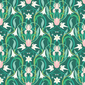 Art Nouveau lilies in arsenic green 12""