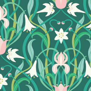 Art Nouveau lilies in arsenic green 24""