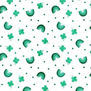 "(3/4"" scale) Rainbows and clovers - St Pattys Day - Lucky Rainbows - bright  green - LAD20BS"
