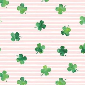 "(3/4"" scale) shamrocks - st patricks day - good luck green on pink stripes C20BS"