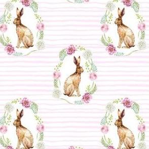 spring rabbit floral wreath - floral frame, spring flowers, watercolor flowers, pink floral - pink stripes