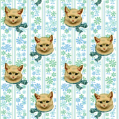 Retro Kitty* (Sailor) || cat kitten vintage flowers floral stripes 60s 70s kitsch ephemera pastel