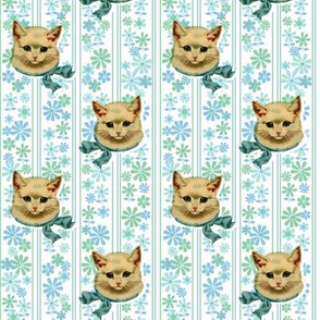Retro Kitty* (Sailor) || cat kitten vintage flowers floral stripes 60s 70s kitsch ephemera pastel
