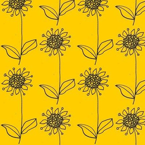 Sunflower stripes on yellow