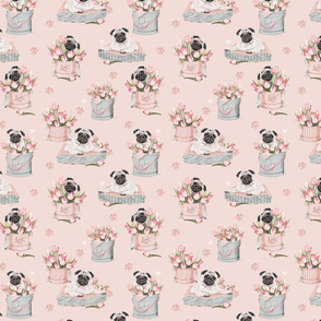 Flowerbox Pug watercolor tulips pink small
