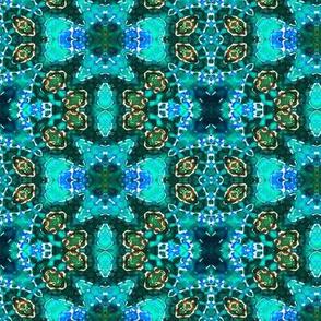 Vibrant Blue Green Medallion Blocks