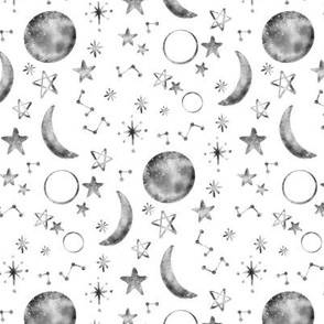 Moon Stars Constellations Gray