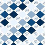 Blue daisy plaids
