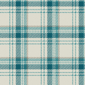 Plaid Ivory Teal Beige