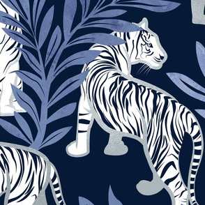 Large jumbo scale // Nouveau white tigers // navy blue background blue leaves silver lines white animals