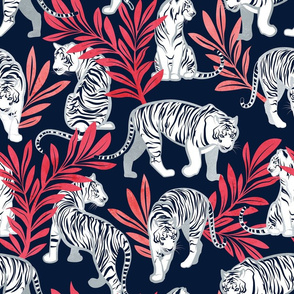 Normal scale // Nouveau white tigers // navy blue background red leaves silver lines white animals