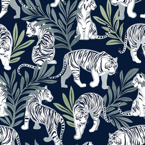 Normal scale // Nouveau white tigers // navy blue background green leaves silver lines white animals