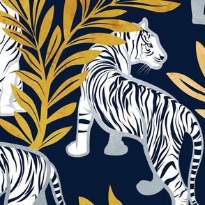 Large jumbo scale // Nouveau white tigers // navy blue background yellow leaves silver lines white animals