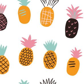 Cute hand drawn colorful pineapples on white background