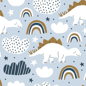 Funny cartoon dino seamless pattern. Scandinavian design. Kids dino pattern