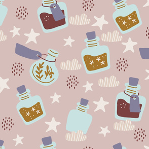 Colorful magic cartoon bottles and love potions with stars, magic exifir