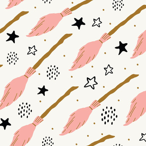 Witch seamless pattern with flying brooms