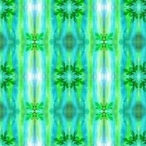 Blue-green pattern with leaves.